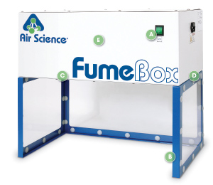 FumeBox ductless filtering fume enclosure with Callouts
