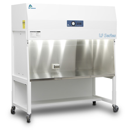 Purair LF Series vertical laminar flow hood on optional cart