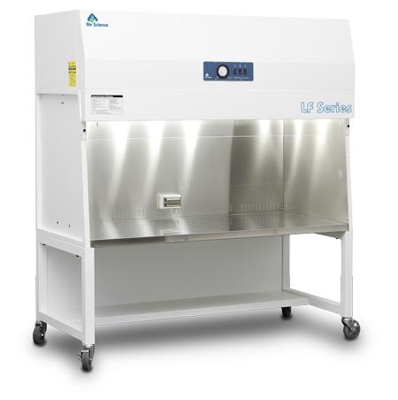 Purair LF Series vertical laminar flow hood on optional cart